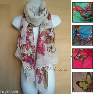Large Butterfly Print Scarf Ladies Womens Big Soft Fashion Hot Scarves