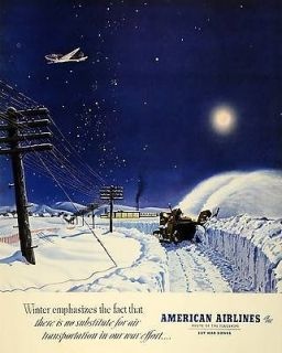 1943 Ad American Airlines Inc Airplane Snow Blower Night Winter E. M