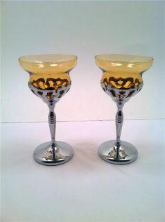 Vintage Chrome & AMBER ART DECO Wine Glass 6 unmarked farberware