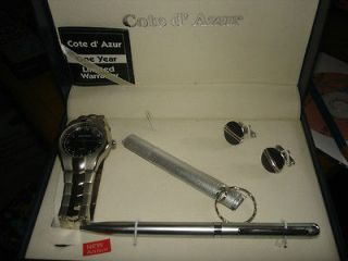 Cote d Azur Watch/Cufflink s, Pen & Flashlight Set