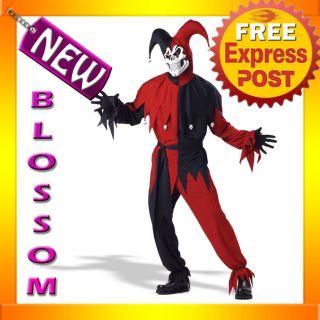 C53 Mardi Gras Red Black Vile Jester Costume S M L XL