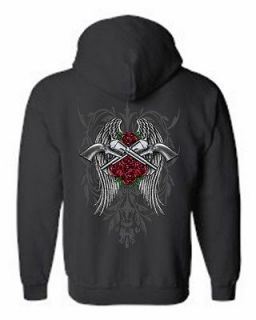 UP HOODIE Rose Crossed Pistols Angel Wings S XL 2X 3X 4X 5X 9 COLORS