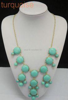 Womens Bubble Bib Statement Fashion Chain mini turquoise necklace BL1