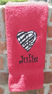 Embroidered Applique Zebra Print Peace Sign Heart Red Hand Towel