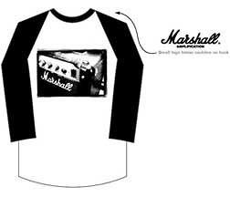 New Marshall Amps Logo Raglan Baseball Jersey X Large T shirt