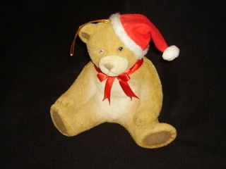 Vintage Fuzzy Flocked Christmas Teddy Bear Bank *NICE*