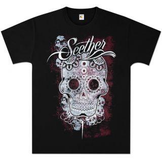 SEETHER Sugar Skull Pattern BLACK T Shirt   CONCERT TOUR ROCK SHIRT