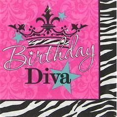 NEW 25 DIVA BIRTHDAY ZEBRA PRINT PINK CROWN LARGE NAPKINS PARTY SUPPLY