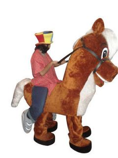 Riding on Horse Illusion Mascot Costume Adult Character Costume