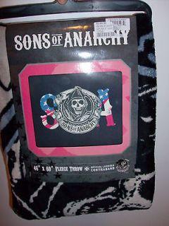 SOA Sons of Anarchy Samcro 2012 NEW RELEASE Fleece Blanket Throw 46 x