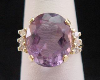 Amethyst and Diamond Gold Ring 4ct Womens GENUINE in Solid 14K Yellow