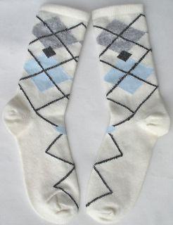3PR Angora Wool Socks ARGYLE White Black Gray Light Blue SO SOFT