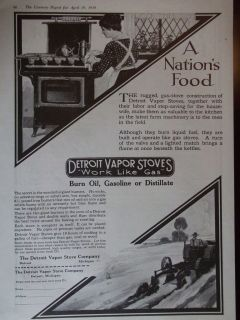 Detroit Vapor Stoves Works Like Gas Original Vintage Advertisement