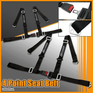 PAIR SPOON BLACK 4 POINT RACING SEAT BELT HARNESS JDM