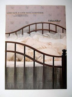 Ethan Allen Furniture Country Craftsman Bed 1986 print Ad