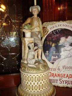 ANTIQUE VINTAGE PORCELAIN FIGURINE BOY & DOG LAMP