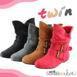 New Women Faux Suede Low Flat Ankle Boots with Buckles Casual Ankle