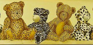 Animal Print Teddy Bear Wallpaper Border