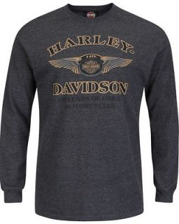 Harley Davidso n Mens 110th Anniversary Charcoal Grey Long Sleeve