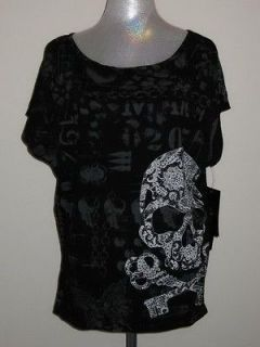 Affliction Live Fast SKELETON KEYS T Shirt Womens Black NWT
