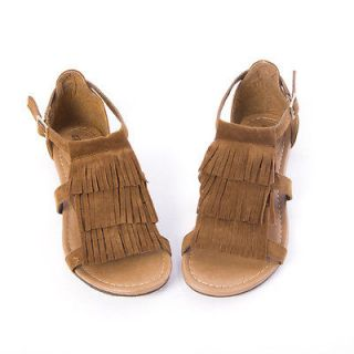 43b2bd6caf43 ... Womens Shoes Tan Triple Fringe Ankle Strap Flat Sandals Gladiator T ...