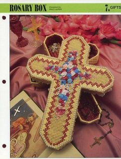 Cross Rosary Box Annies Plastic Canvas NEW Pattern Leaflet   30 Days