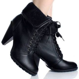Newly listed Black Lace Up Ankle Boots Combat Granny Fold Over Womens