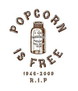 Popcorn is Free T Shirt, Popcorn Sutton, Moonshine, Brown on White