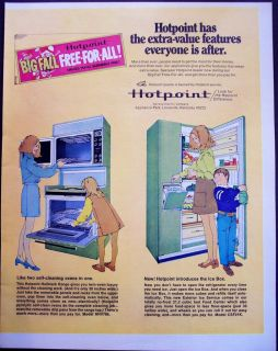 self cleaning oven, refrigerator w/ Ice Box vintage appliance ad
