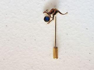 lapel pin brooch vintage gold tone kangaroo with blue rhinestone stick