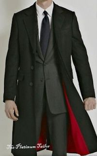 BNWT MENS CLASSIC BLACK WOOL CROMBIE OVERCOAT WARM WINTER LONG COAT