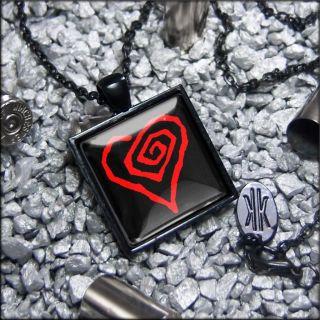 Marilyn Manson Heart Glass Goth Rock Jet Black Necklace 246 SJBD
