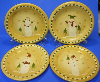 Set of 4 Sonoma Life & Style Snowman Salad Plates   Great Condition