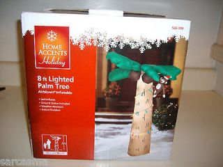 GEMMY 8 FT CHRISTMAS LIGHTED PALM TREE WITH MONKEY INFLATABLE. BRAND