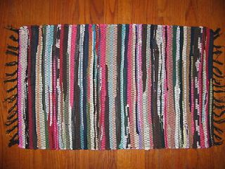 Cottage Scatter Rug 18 x 30 OOAK handwoven rag throw rug   D4