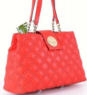 458 SCARLET RED QUILTED LEATHER ASTOR COURT ELENA PURSE BAG TOTE