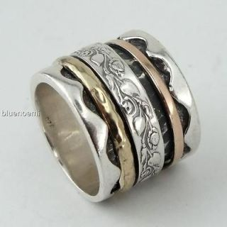 meditation romantic ring wide band silver rose gold bague tube argent