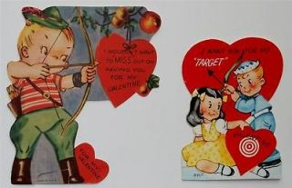 SPORTS Vintage Valentines ARCHERY BOW & ARROW, TARGET 1940s   1950s