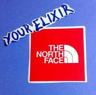 THE NORTH FACE RED WHITE SKATEBOARD BOARD PHONE SMALL VINYL STICKER