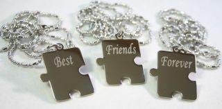 PERSONALIZED PUZZLE PIECES PENDANTS NECKLACE X3 FRIENDS, SIBLINGS
