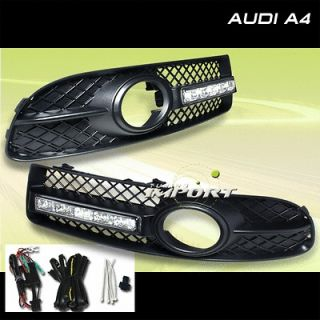 AUDI A4 S LINE FOG LIGHT GRILLE W/WHITE LED LIGHT (Fits: 2005 Audi A4