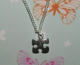 Autism Puzzle Piece Lead Free Pewter Pendant Silver Plated 24 Figaro