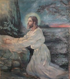 Antique religious oil painting praying Jesus