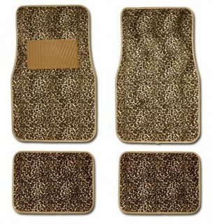 Tan Brown Gold Cheetah Leopard Animal Print Carpet Auto SUV Floor Mats