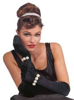 Retro Film Star Audrey Hepburn Long Black Pearl Bracelet Gloves