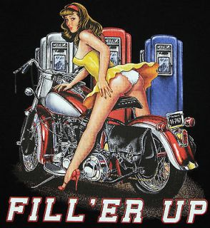 Classic Harley Motorcycle Garage Pin Up Biker Design T shirt Med 3XL