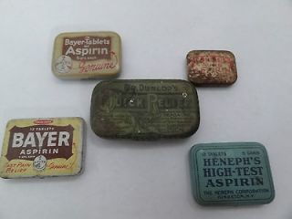 Lot/5 Vintage Advertising Aspirin Bayer Henephs Dr Dunlops Quick