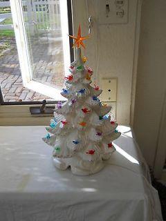 BLINKER 17 Atlantic Mold White Pearlized Ceramic Christmas Tree Birds