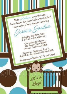 Mod Monkey Baby Shower Boy Girl Any Colors Invitation Printable UPRINT