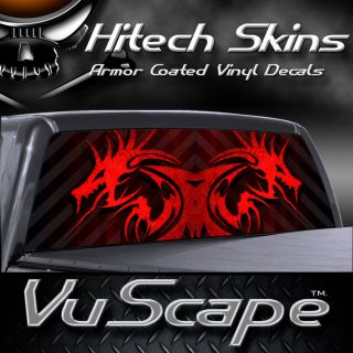 Vuscape Truck Rear Window Graphic   RED TRIBAL DRAGON